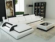 Modern White leather sectional sofa VG122C