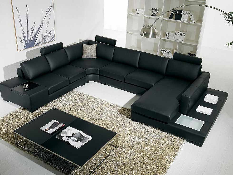 Merveilleux T35 Black Leather Sectional Sofa