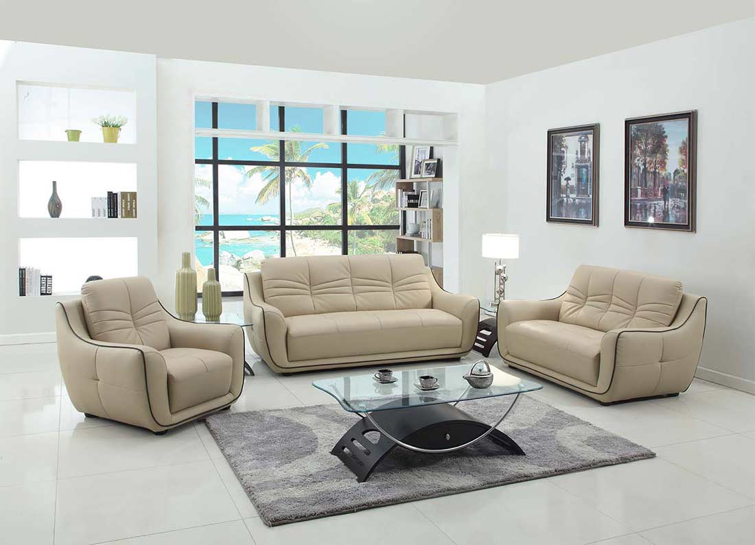 Modern Beige Leather Sofa GU 88