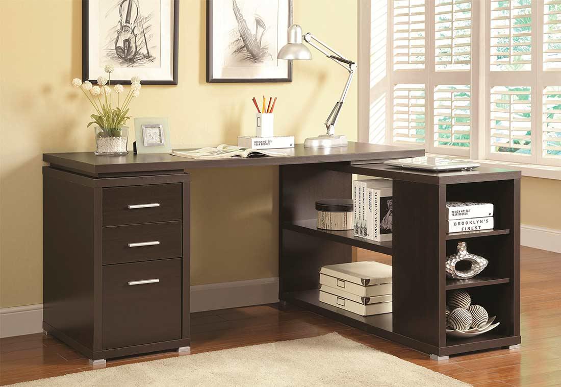 Cappuccino L Shape Desk With Silver Hardware Co 517 Desks
