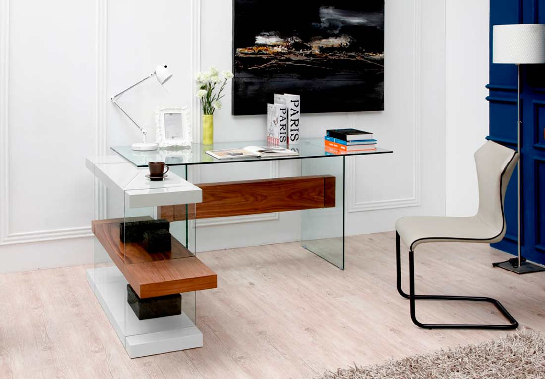 White And Walnut Floating Office Desk Vg001 Desks