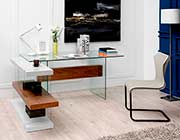 White and Walnut Floating Office Desk VG001