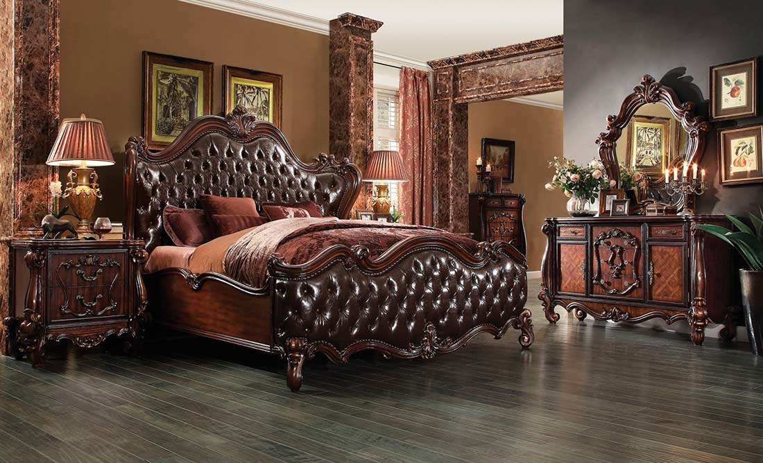 Dark Brown Pu Cherry Oak Bed Ac Chateau Traditional Bedroom