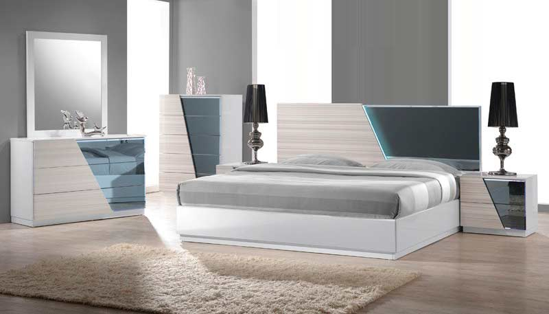 Zebra Gray Bed with White Lacquer BM 017 | Modern Bedroom Furniture