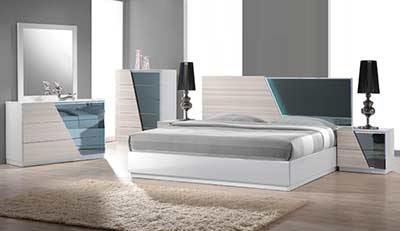 Zebra Gray Bed with White Lacquer BM 017