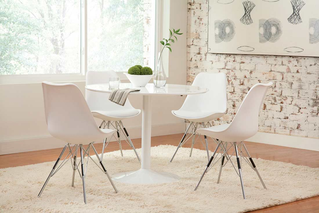 High Gloss White Dining Table Co261 Urban Transitional Dining