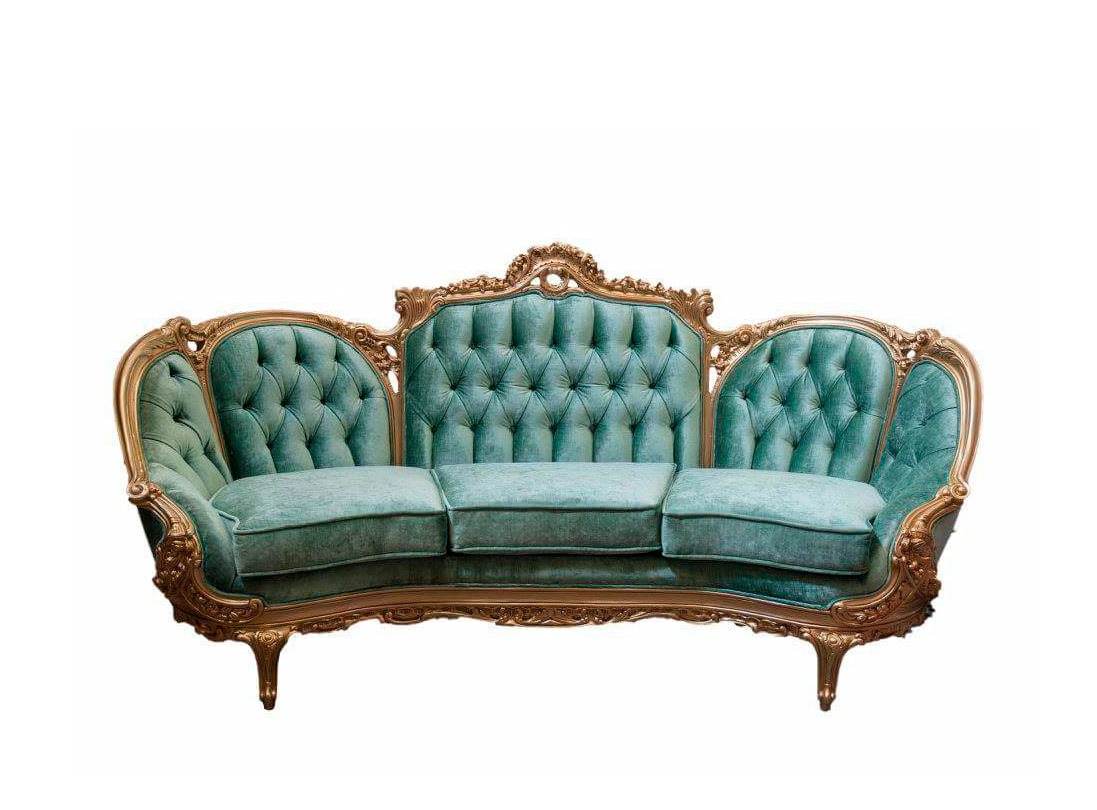 Green Velvet Provincial Sofa 634 Provincial