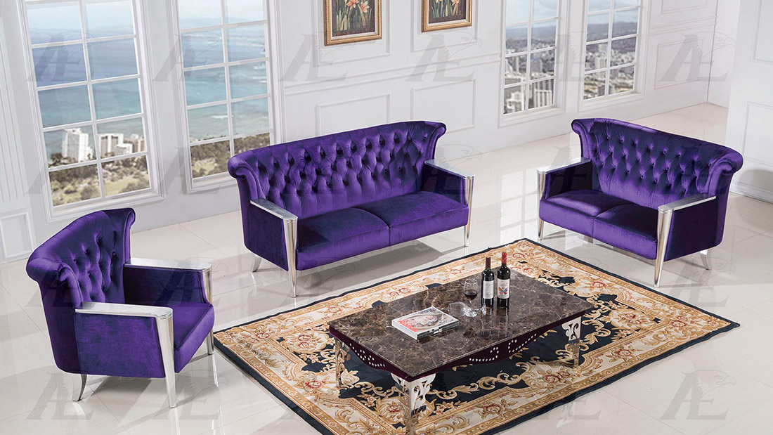 Purple fabric sofa casa delilah modern purple fabric sofa for Purple couch set
