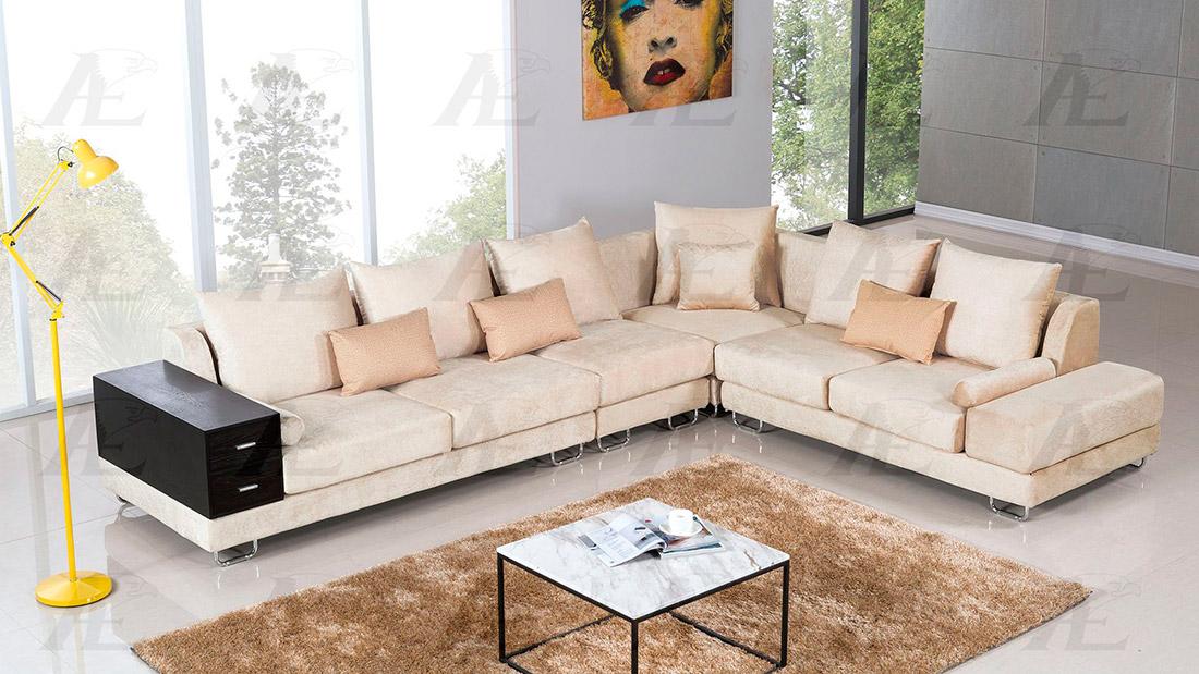 Cream Velvet Sectional Sofa AE36
