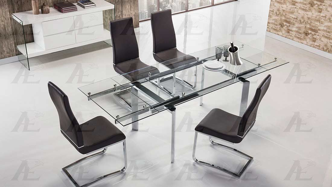 Extendable Clear Glass Dining Table AE134S