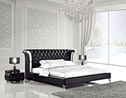 Black Leather Bed with Nightstands AE293