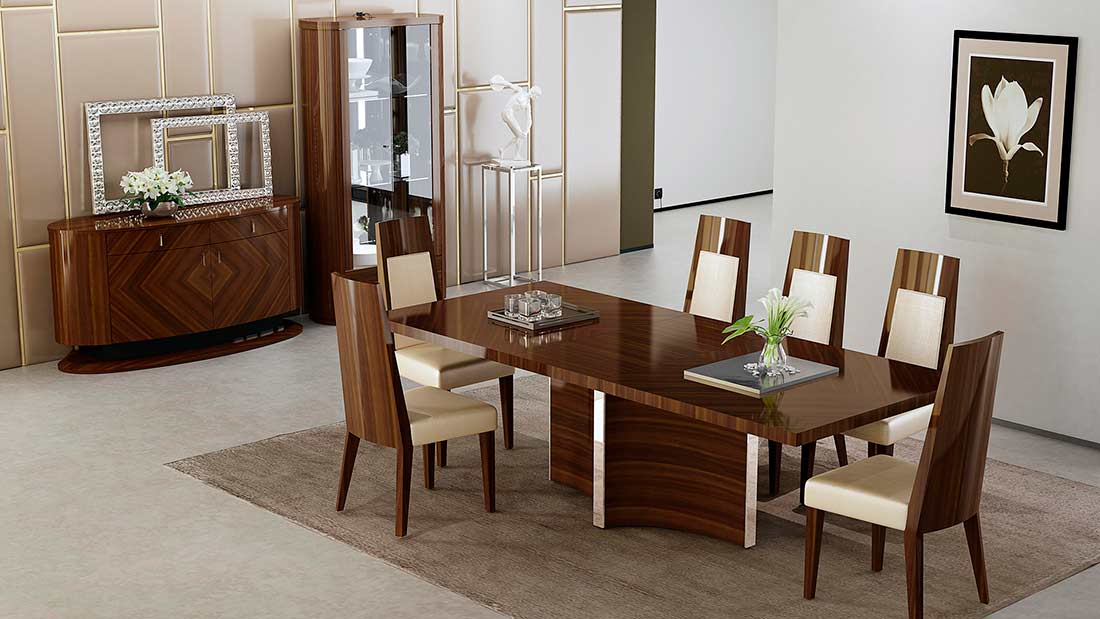 D313 Modern Dining Room Set In White Lacquer Finish: High Gloss Modern Dining Table AE 109