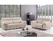 Modern Sofa Collection in Light Gray Top Grain Leather