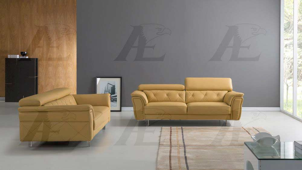 Yellow Italian Leather Sofa Aek 68 Leather Sofas