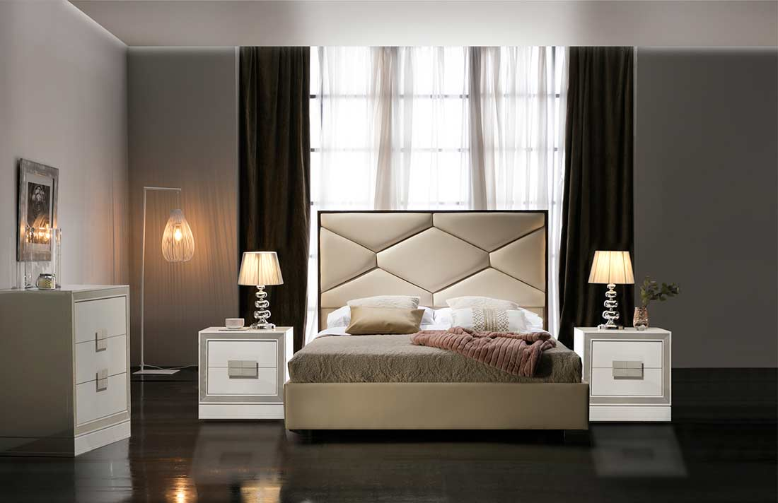 Beige Bed with Storage EF Marina | Modern Bedroom Furniture