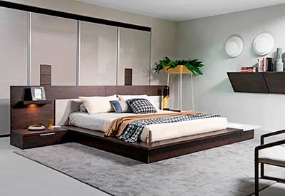 Brown Oak Grey Platform Bed VG Trenton