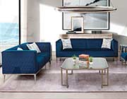 Blue fabric sofa set AE 802