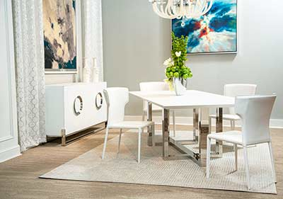 Halo Glass Top Dining Table by AICO