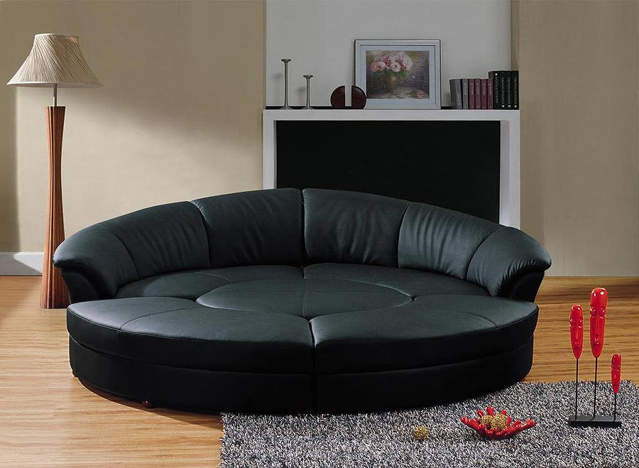 Round sofa sleeper 43 : Leather Sectionals