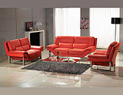 Red Nicole leather sofa  set