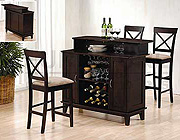Cappuccino Finish Solid Wood Bar, Wine Rack