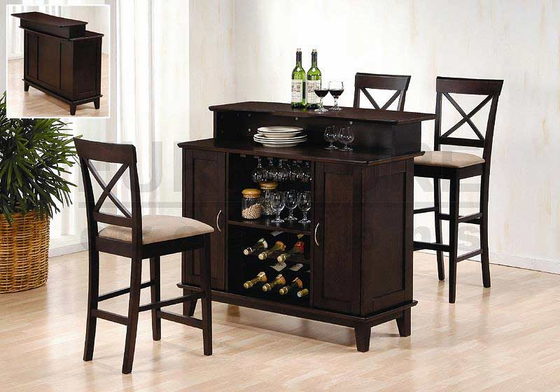 Cappuccino Finish Solid Wood Bar Wine Rack Bar