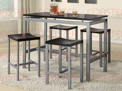 Atlas Counter Height Dining Set, Black Top Matte