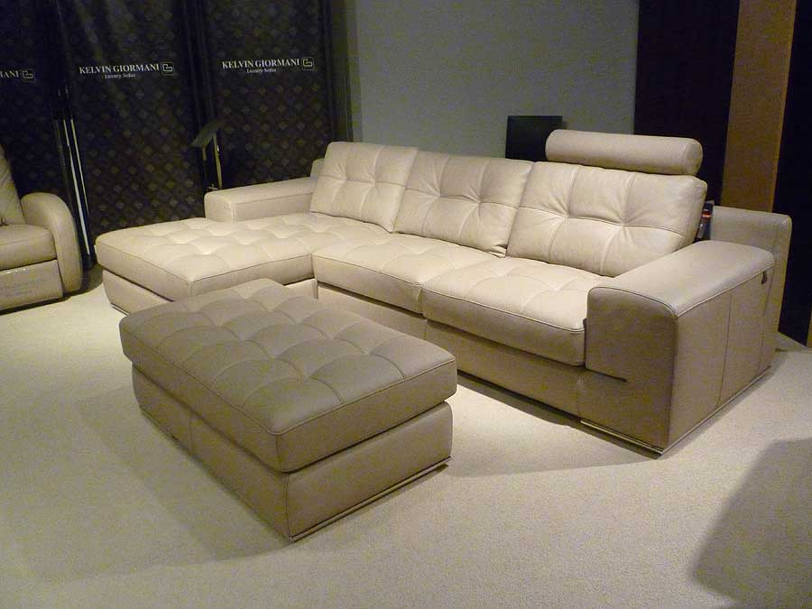 Fiore Sofa Sectional Italian Leather Beige Leather