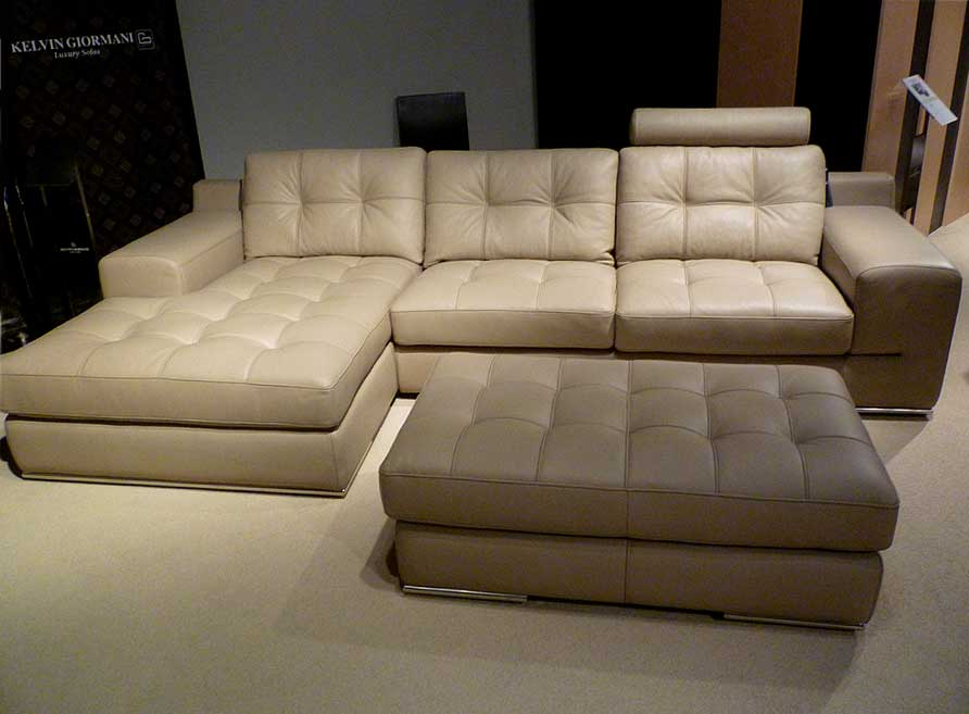 Fiore Sofa Sectional Italian Leather - Beige | Leather Sectionals