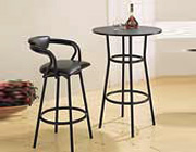 Black Metal Round Counter Height  Bar Table