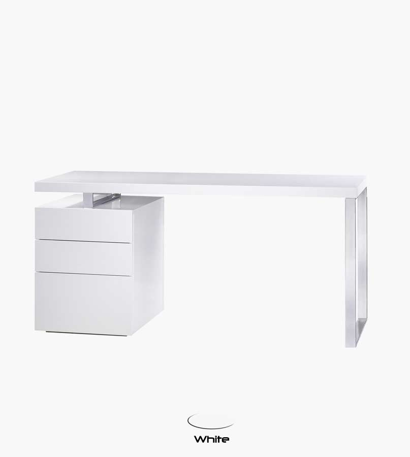 Bl Tessa Office Desk In White Gloss Desks