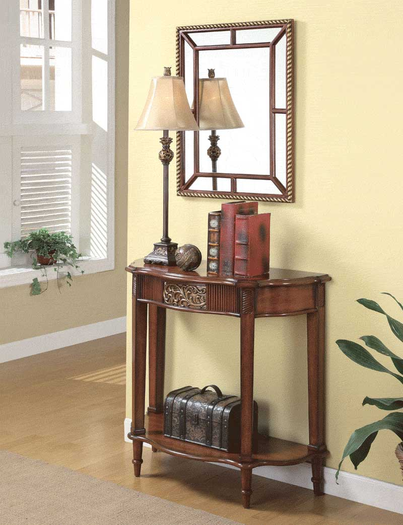 Foyer Furniture And Decor : Table mirror and lamp co hallway