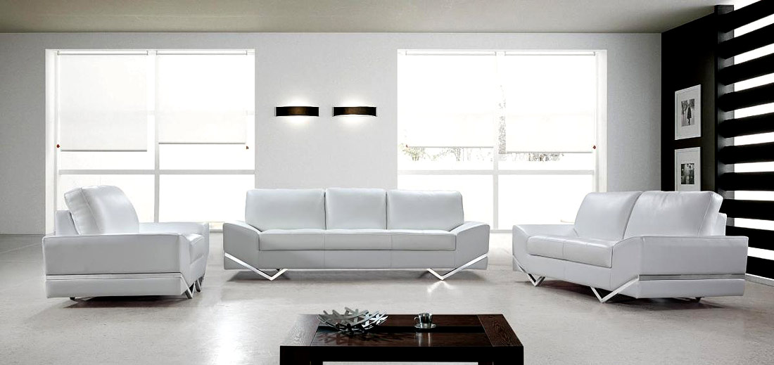 White modern sofa set vg 74 leather sofas for Modern white furniture