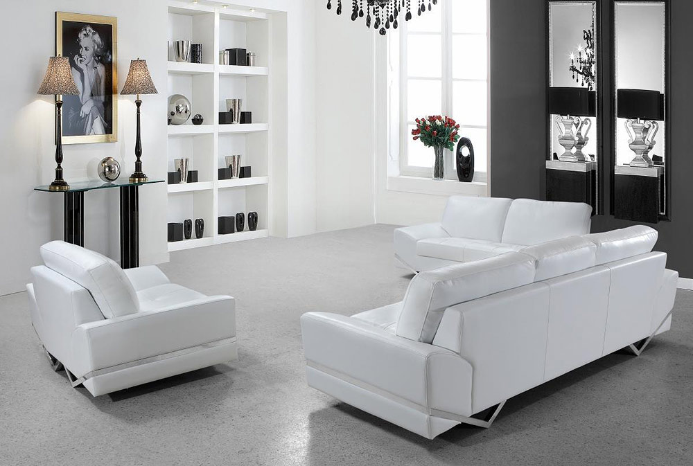 White modern sofa set vg 74 leather sofas for Contemporary sofa set